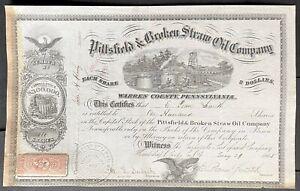 PITTSFIELD & BROKEN STRAW OIL CO Stock 1865 Pittsfield Brokenstraw Warren Co, PA