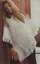 Ladies Irish Knit Poncho in Super Chunky yarn Knitting Pattern 902