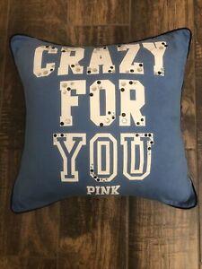 PINK Victoria's Secret Blue College Dorm Pillow Crazy For You Bling Rare