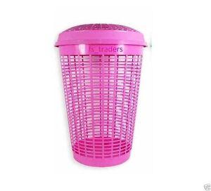 50 L Circular Plastic Laundry Linen Washing Basket Bin Storage Hamper With Lid