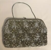 VINTAGE SILVER SEQUIN Beaded EVENING BAG HANDMADE Clutch Or Handbag Purse