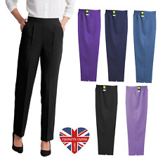 "LADIES QUALITY SMART CASUAL TROUSERS HALF ELASTIC MADE IN UK 27"" LEG SIZES 10-24"