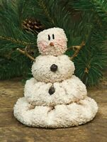 "Primitive MELTING  SNOWMAN DOLL Bells Christmas 5.5"" Chenille Winter Crafts"