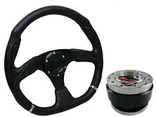 D1 BLACK D-SHAPED Steering Wheel + Quick Release boss kit for SEAT