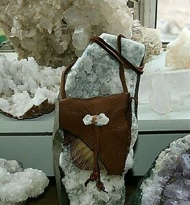 Healing Stone Deer Hide & Fox Fur Medicine Bag by Lizzy Bear!