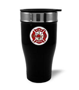 U.S. Fire Department Stainless Steel BLACK Coffee Travel Mug Thermos 12oz