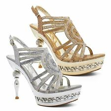 New Womens Diamante Party Evening Sandals Ladies Platform High Heel Shoes Size