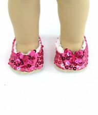 """Red Sequin Slippers For 15"""" and 18"""" American Girl Doll Accessories Clothes"""