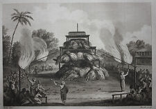 Original antique print FUNERAL PILE OF A TALAPOIN, Metz, Heath, Harrison 1783