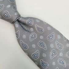 A8) BROOKS BROTHERS GRAY PAISLEY 100% SILK NECKTIE MADE IN USA