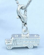 3D School Bus Clip On Charm for Bracelets Sterling Silver plated