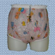 Locking Adult Pink Print Plastic Pants ((LPHDPB-L) Size: Large Made in USA
