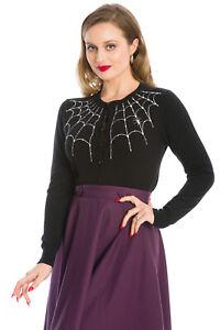 BANNED Black White Gothic Vintage Retro Rockabilly Under Her Web Spell Cardigan