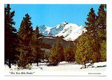 Ten Mile Peaks Postcard Colorado Near Breckenridge Covered With Snow Trees