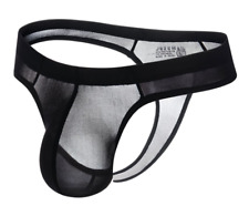 Mens Small Black Ice Nylon Pouched Transparent Thong G String T Back Gay UK