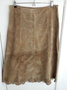 "Luisa Spagnoli Vintage 70s Brown Suede Leather Midi Skirt UK 16 33-34""W STAINED"