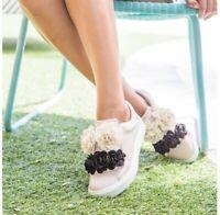 Mia Women's Primrose Sneaker, Blush Nude Flower Slip On Flat Fashion Sneakers