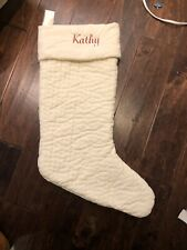 New Pottery Barn Channel Quilted Velvet Christmas Ivory Large Stocking *Kathy