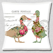 Shabby Chic Ducks Cushion Cover 16x16 40cm French Style Carte Postale White