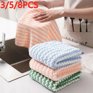 3/5/8PC Super Absorbent Microfibre Kitchen Cleaning Cloth Dish Washing Towel Rag
