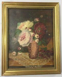 Huile Sur Toile HST sous Cadre Bois Dore NATURE MORTE Bouquet Fleurs XIXe art 9