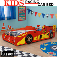 New Kids Racing Car Bed Single Size, Red Color, Children Bedroom Furniture