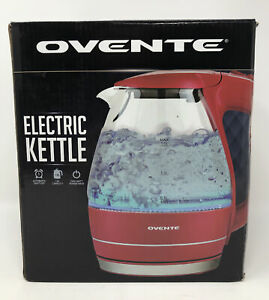 Ovente Portable Electric Glass Kettle 1.5 Liter Red KG83 Series - NEW OPEN BOX