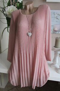 Neu Italy Kleid Plissee Elegante Langarm Chiffonkleid Oversize Alt-Rosa 40 42 44