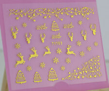 Christmas GOLD Snowflakes Reindeer Star 3D Nail Art Sticker Decals UV Manicure
