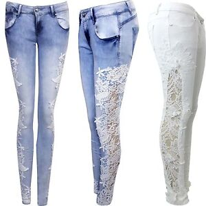 Womens Ladies Stretch Crochet Side Lace Skinny Fit Denim Jeans Size 6 to 14