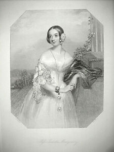 "4 original little antique stipple engravings of ""Victorian Beauties"" , 1841"