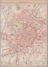 c. 1890 ITALY MILAN MILANO Antique Map