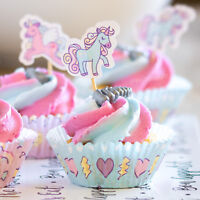 48 Cupcake Cases with 48 Toppers Magic Unicorn Fairy Cake Case Birthday 96pc Set