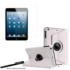 Housse Etui Blanc 360° pour Apple iPad mini 1/2/3 + Vitre de protection