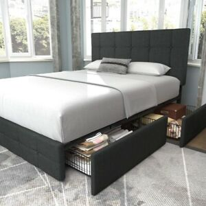 Amolife Queen Size Platform Bed Frame with Headboard and 4 Storage Drawers, Dark