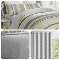 Dreams & Drapes HANWORTH Yellow & Grey Fern Bedding & Bedroom Accessories