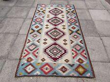 Old Traditional Turkish Oriental Hand Made Blue Cream Wool Kilim Rug 230x124cm