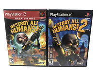Destroy All Humans 1 & Destroy All Humans 2 (Sony Playstation 2 PS2) Complete