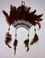Indianer Kopfschmuck Indianerfedern Indianerschmuck 32cm Federn braun Deko Wand