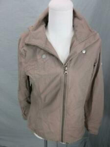 Columbia Size XS Womens Brown Full Zip Cotton Hooded Windbreaker Jacket T037