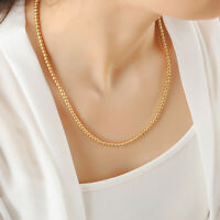 Stunning 18K Yellow Gold GP 4mm Ball Beads Solid Chain Necklace Mens & Womens
