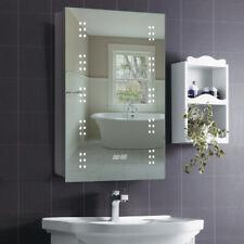 IP44 Waterproof Clock Demister Pad Bathroom Mirror Cabinet With Shaving Socket