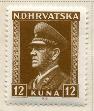 CROATIA;  1943 early WWII Pavelic issue fine Mint hinged 12k. value