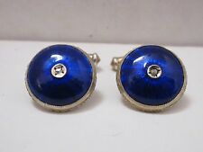 Cufflinks, Sterling Silver, Guilloche, Cobalt Blue Enamel, Diamond By ALEXY
