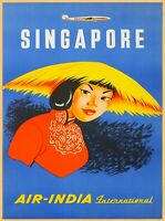 Singapore Air-India Asia Asian Vintage Travel Advertisement Art Poster Print