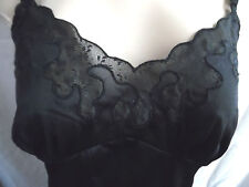VINTAGE CAMISOLE FULL SLIP NIGHTGOWN CHEMISE BLACK EMBROIDERY LACE NYLON 38