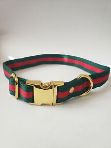 Green Red Stripe Gucci Inspired Pet Collar Gold Hardware For Small Medium Dogs