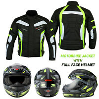 Motorbike Motorcycle Jacket Waterproof Breathable Biker Full Face Helmet Crush