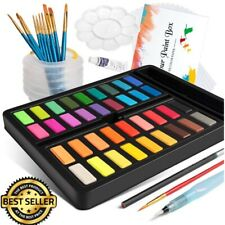 New ListingProfessional 36 Colors Watercolor Paint Painting Water Brush, Paper, 10 Brushes