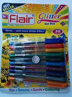 GLITTER METALLIC COLOUR PEN SET Gel Pens GREEN BLACK SILVER GOLD RED BLUE ORANGE